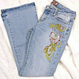 Vintage 90's Flare Floral Embroidery Jeans